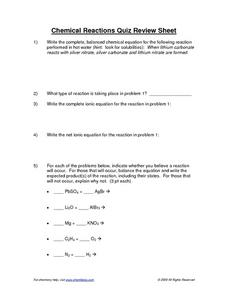 Chemical Reactions Quiz Review Sheet Worksheet