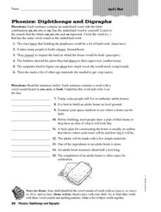 Phonics: Diphthongs and Digraphs - April's Mud Worksheet