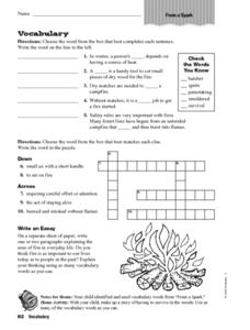 Vocabulary: From a Spark Worksheet