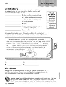 The Land of Expectations Vocabulary Worksheet