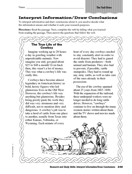 Interpret Information: Draw Conclusions Worksheet