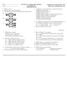 Newton's Laws and Forces Worksheet