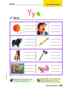 Phonics: Consonant Yy Worksheet