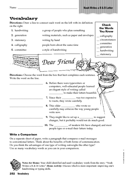 Noah Writes a B and B Letter Vocabulary Worksheet