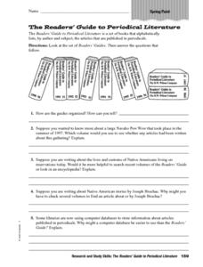 The Reader's Guide to Periodical Literature Worksheet
