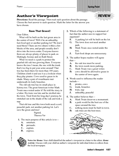 Author's Viewpoint: Save That Green! Worksheet for 4th - 6th ...