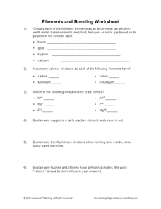 Elements and Bonding Worksheet Worksheet