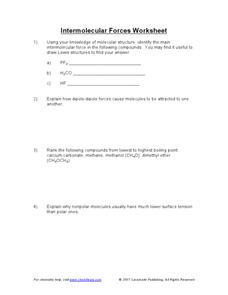 Intermolecular Forces Worksheet Worksheet