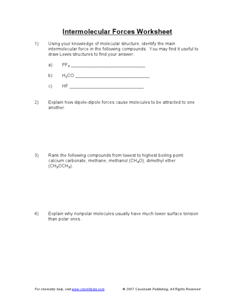 Intermolecular Forces Worksheet 9th - 12th Grade Worksheet ...