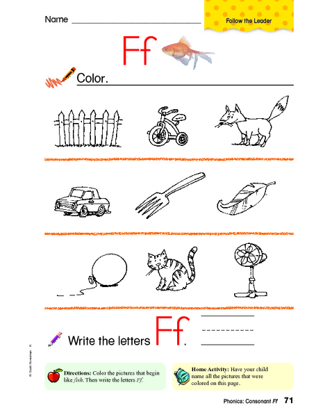 Words Beginning With Ff Worksheet For Pre K 1st Grade Lesson Planet