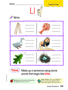 Letter L: Looking for Crabs Worksheet