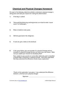 Chemical and Physical Changes Homework Worksheet