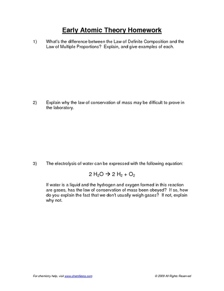 Early Atomic Theory Homework Worksheet For 9th 12th