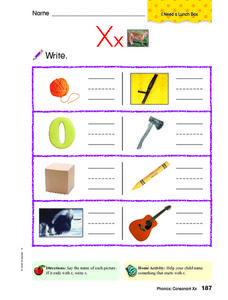 Letter Xx Review Worksheet