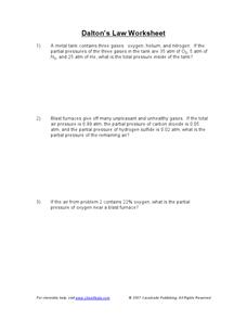 Dalton's Law Worksheet Worksheet for 9th - 12th Grade | Lesson Planet