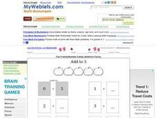 Fact Family/Number Family (Addition Facts) Worksheet
