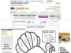 Color by Number: Addition Worksheet