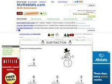 Subtraction (Numbers 0-6 With Snowman Picture) Worksheet