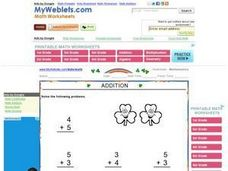 Simple Addition # 3: Numbers 1-5 Worksheet