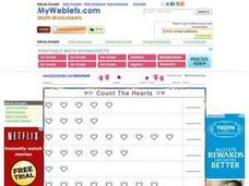 Count the Hearts 1-9 Worksheet