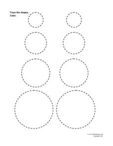 Trace the Shapes: Circles Worksheet
