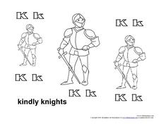 Letter Kk: Kindly Knights Worksheet