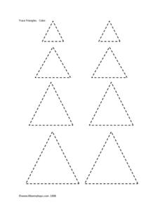 Trace an Color: Triangles Worksheet