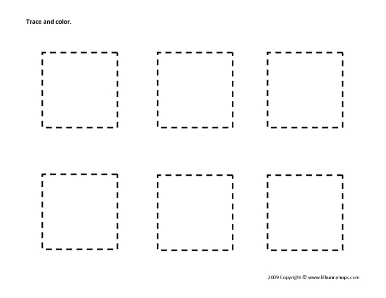 Trace And Color Squares Worksheet For Pre-K