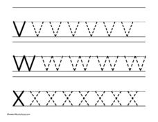Tracing v, w, x Worksheet