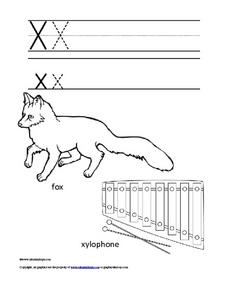 Letter Xx Trace and Color Worksheet
