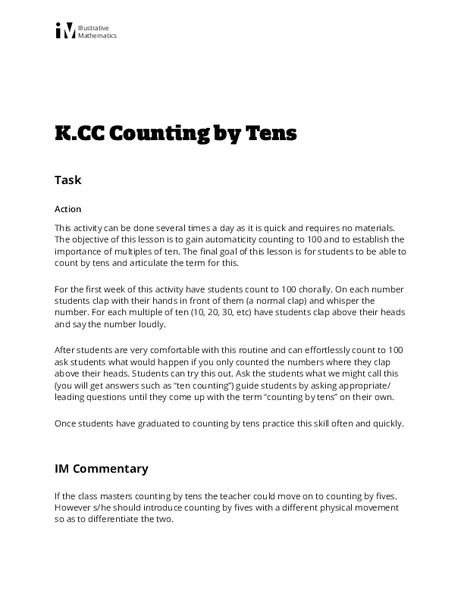Counting by Tens Activities & Project