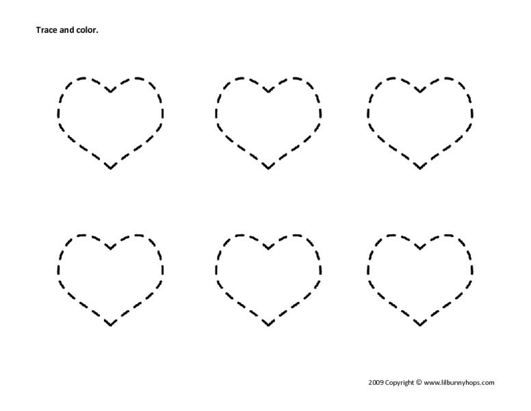 Trace And Color: Hearts #2 Worksheet For Pre-K