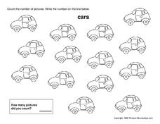 counting cars worksheet for kindergarten 1st grade lesson planet. Black Bedroom Furniture Sets. Home Design Ideas