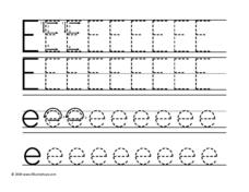 Tracing Upper and Lower Case Letter Ee Worksheet
