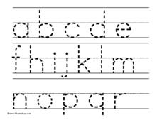 Lowercase Alphabet a-r Worksheet