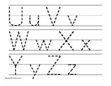Tracing Letters Uu-Zz Worksheet