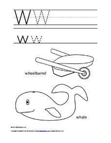 Letter Ww Color and Trace Worksheet
