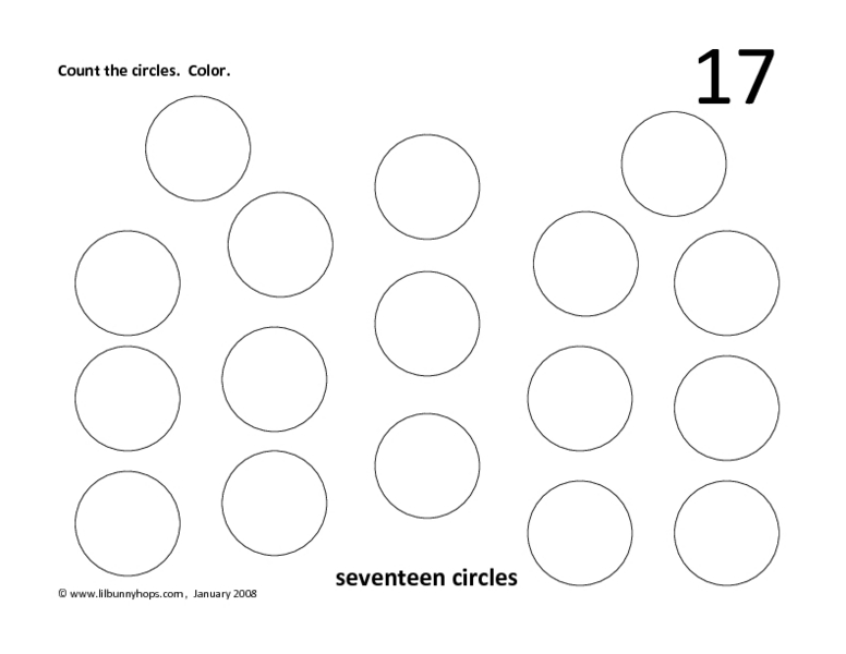 Counting to 17 Worksheet