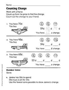 Counting Change Worksheet