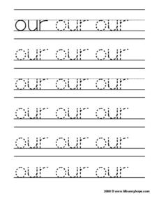 "Tracing the Word ""Our"" Worksheet"