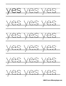 "Tracing the Word ""Yes"" Worksheet"