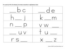 Fill In the Letter Worksheet