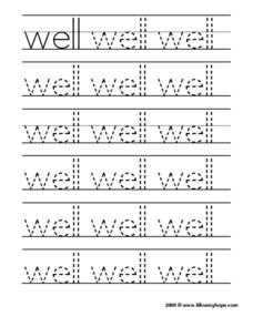 "Printing the Word ""Well"" Worksheet"