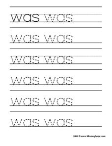"Tracing the Word ""Was"" Worksheet"