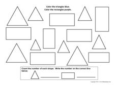 Color the Triangles and Rectangles Worksheet