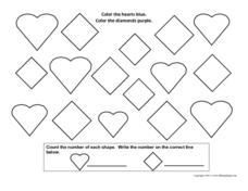 Color the Hearts and Diamonds Worksheet