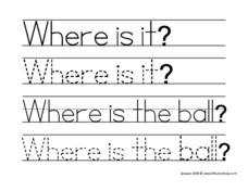Where Is It? (Tracing) Worksheet