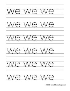 "Tracing the Word ""We"" Worksheet"