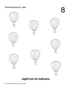 Eight Hot Air Balloons Worksheet