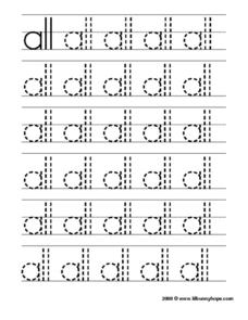 Printing Practice: Sight Words 'All' Worksheet